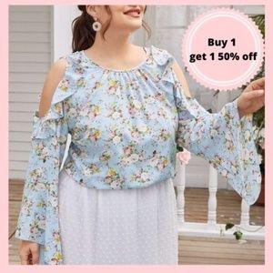 Blue Floral Plus Size Blouse